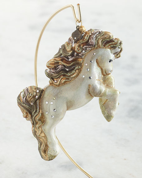 Image 1 of 1: Galloping Horse Glass Ornament