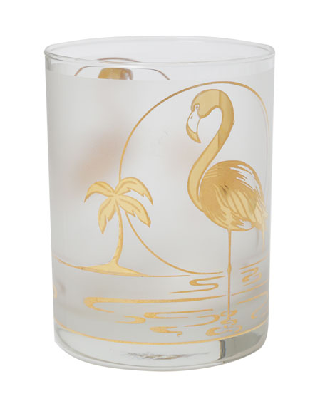 Image 2 of 4: Devonia Antiques Set of 6 Mid-Century Modern Gilt Flamingo Double Old-Fashioneds