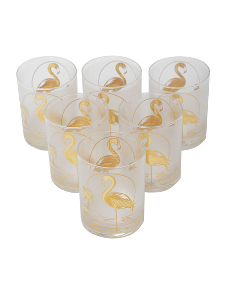 Image 1 of 4: Devonia Antiques Set of 6 Mid-Century Modern Gilt Flamingo Double Old-Fashioneds