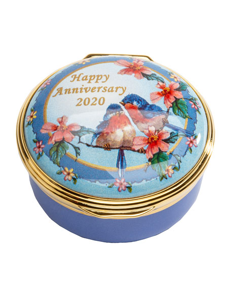 Image 1 of 2: Halcyon Days 2020 Happy Anniversary Enamel Box