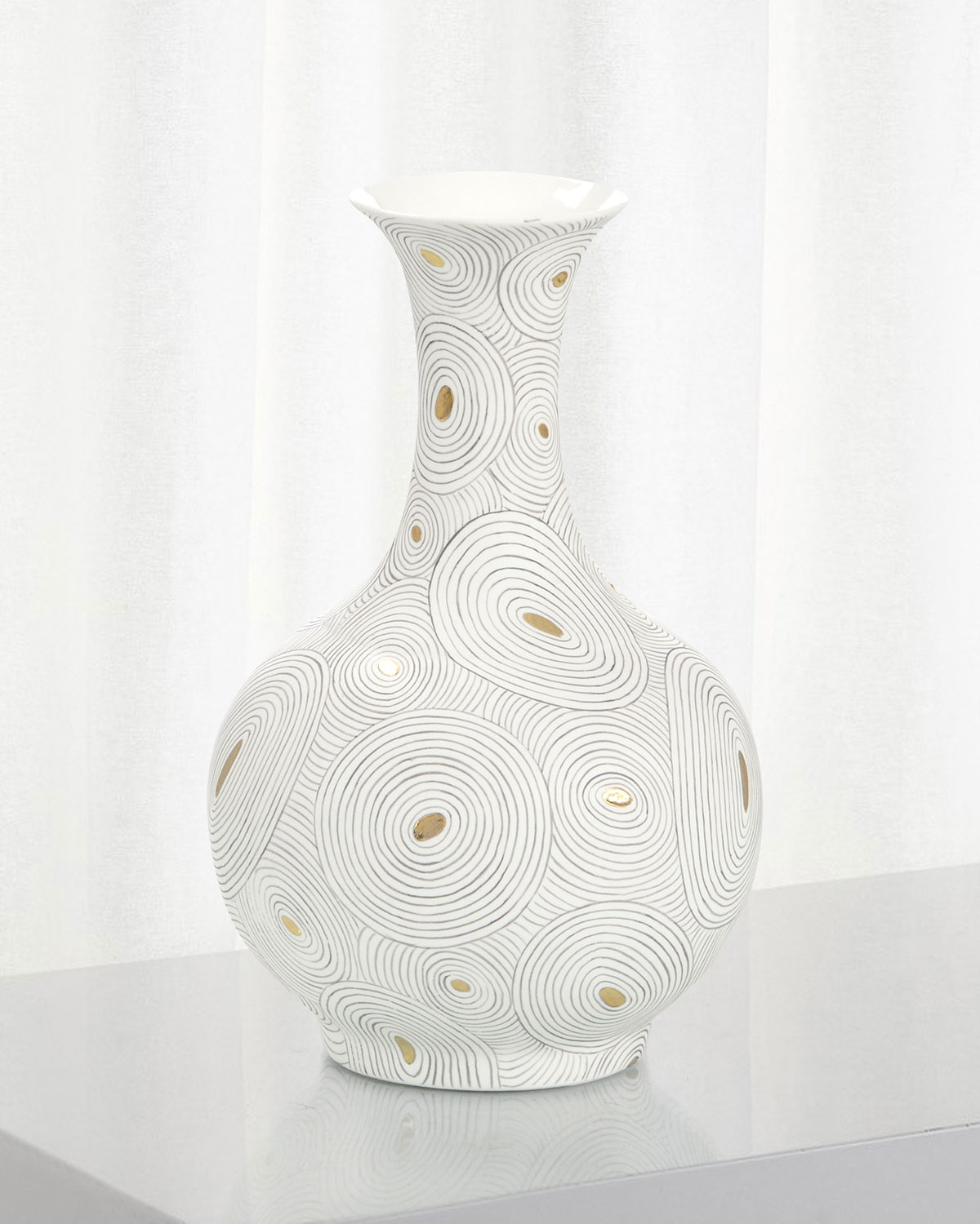 John-Richard Collection White Porcelain Vase with Gold