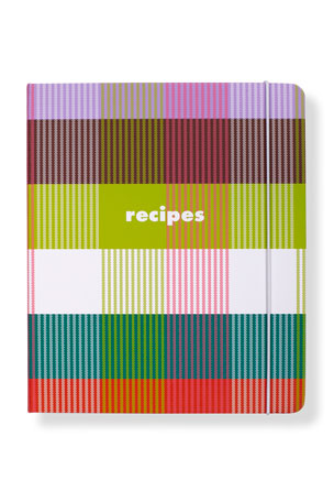 kate spade new york rainbow plaid recipe book