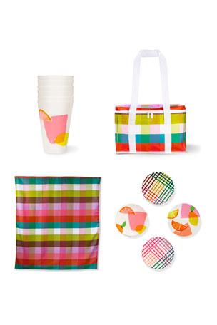 kate spade new york rainbow plaid/citrus celebration picnic set
