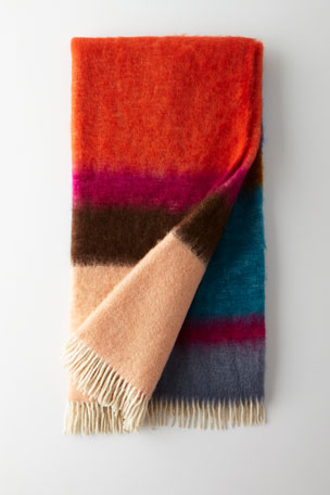 Mantas Ezcaray Matisse Mohair Throw, Blue Pattern