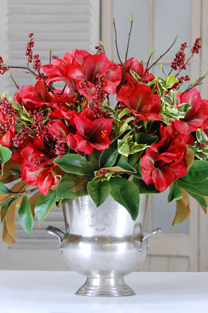 Winward Amaryllis Holly & Magnolia Leaf in Urn