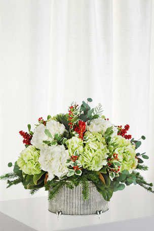 Winward Hydrangea Holly in Small Oval Vase