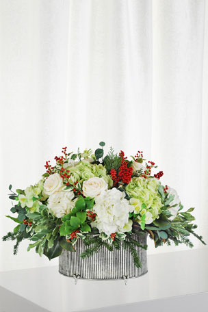 Winward Hydrangea Holly in Large Oval Vase