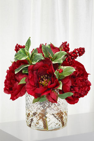 Winward Peony Rose Arrangement in Cylinder Vase