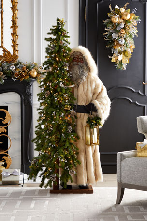 Ditz Designs By The Hen House Golden Opulence Black Santa with Lighted Tree, 57""