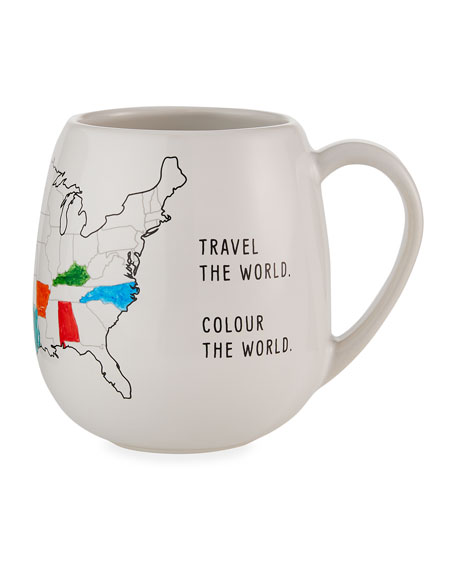 Image 4 of 5: Trouvaille USA Color Map Mug with Coloring Pen