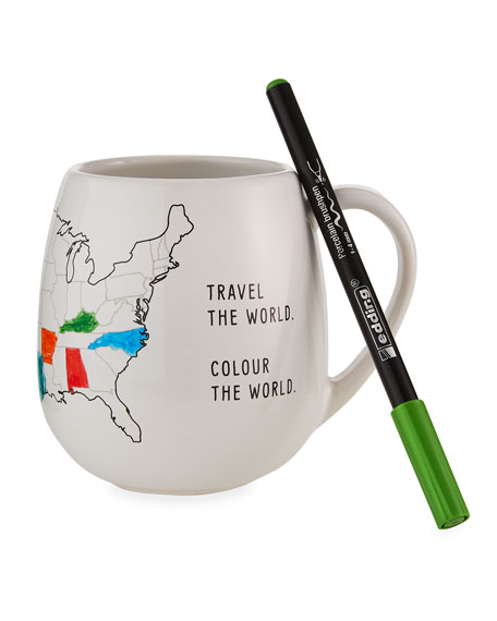 Image 1 of 5: Trouvaille USA Color Map Mug with Coloring Pen