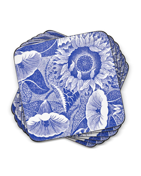 Image 2 of 3: Spode Blue Room Sunflower Coasters, Set of 6