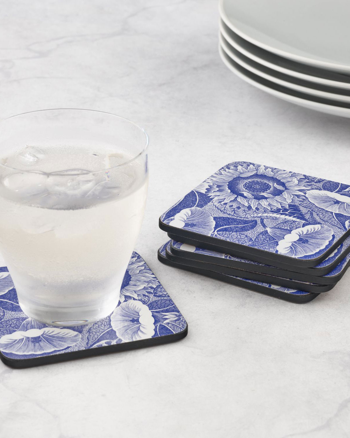 Spode Blue Room Sunflower Coasters, Set of 6