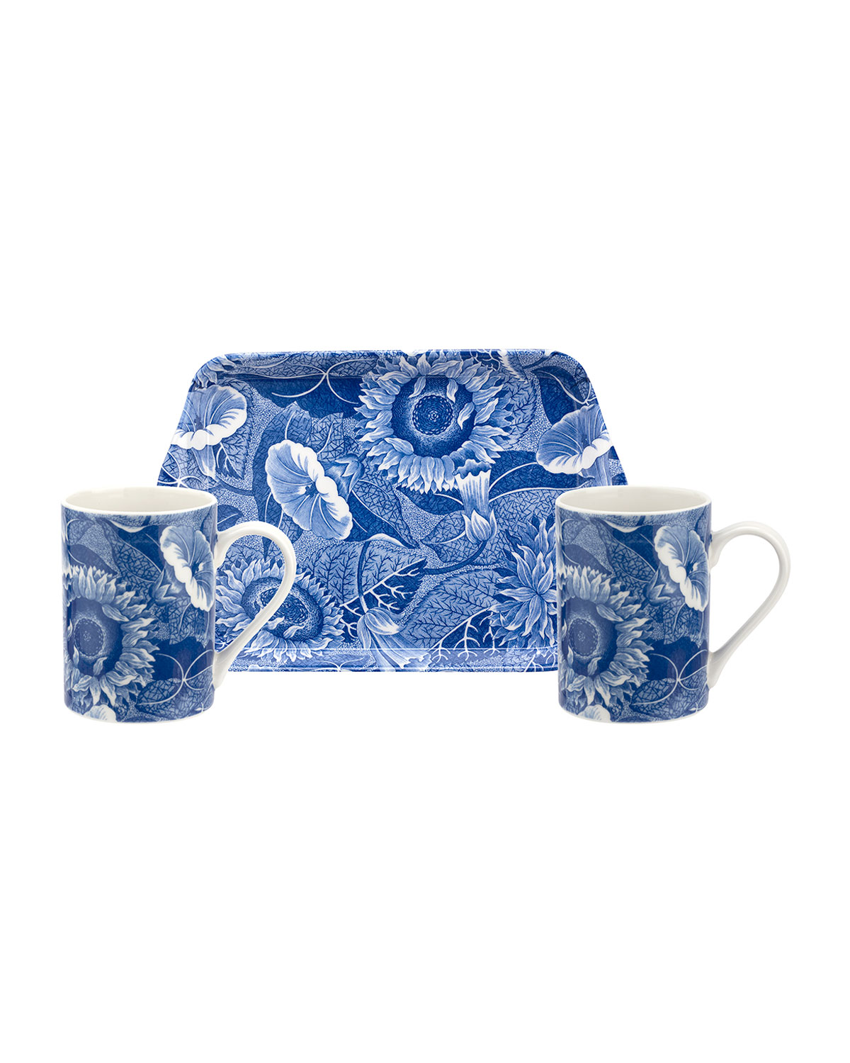Spode Blue Room Sunflower Melamine Tray with Mugs
