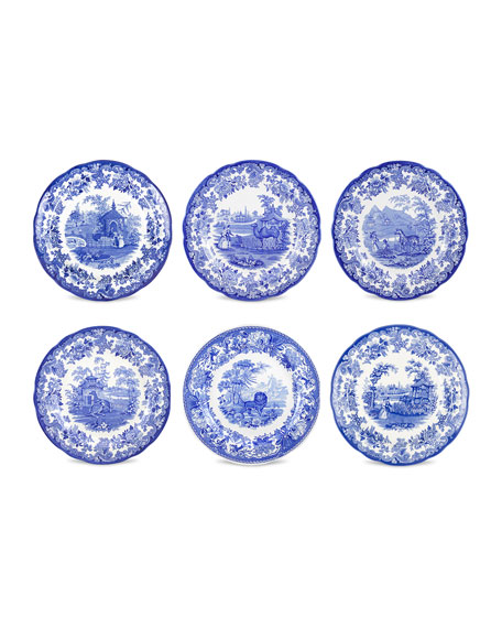 Image 2 of 3: Spode Blue Room Zoological Plate Set