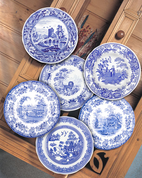 Image 3 of 3: Spode Blue Room Zoological Plate Set