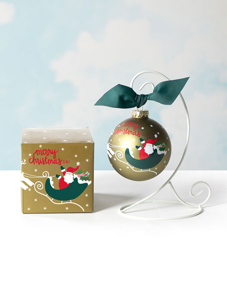 Image 1 of 2: Coton Colors Merry Christmas To All Glass Ornament, Personalized