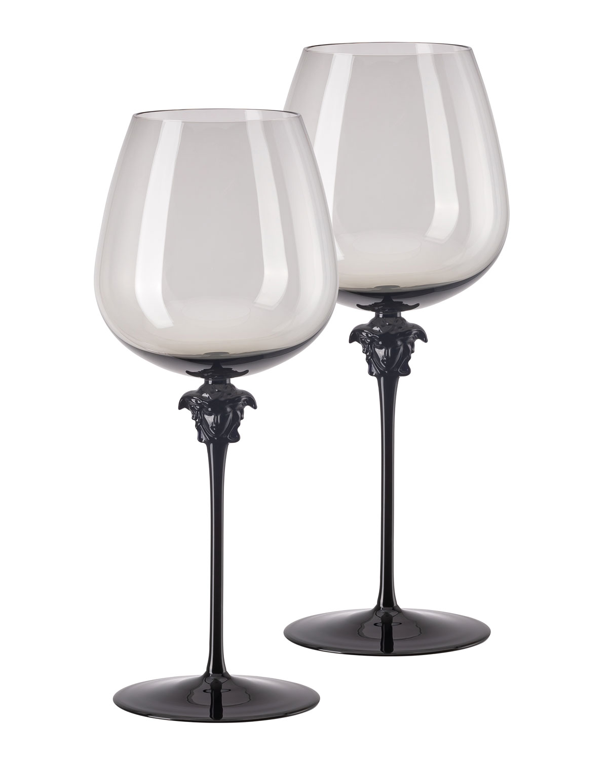 Versace Medusa Lumiere Haze Red Wine Burgundy Glasses, Set of 2