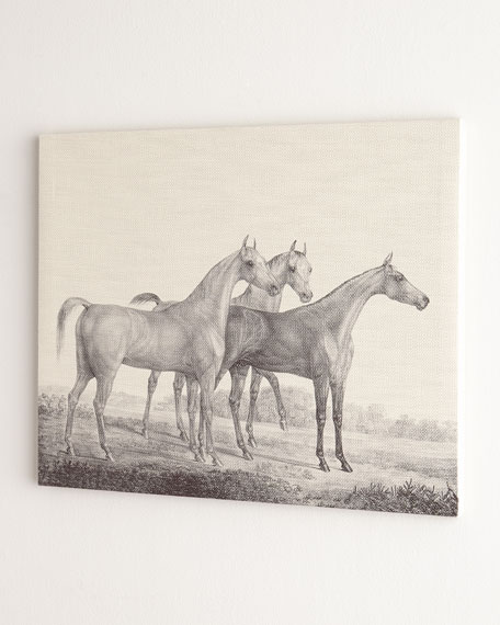 """Three Horses"" Print on Canvas, 55""W x 36""T"