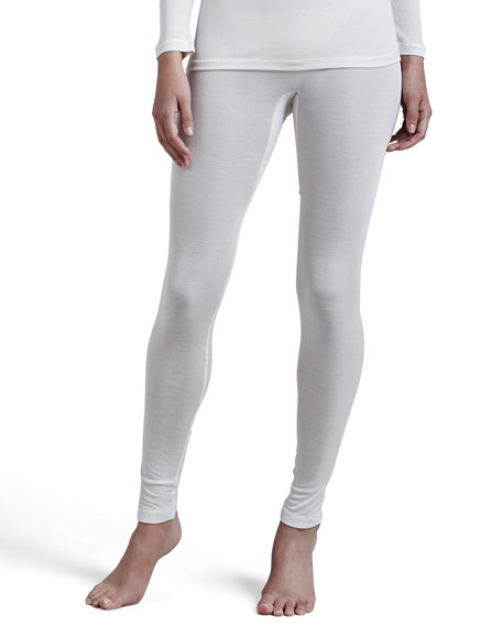 Pure Silk Leggings, Pale Cream