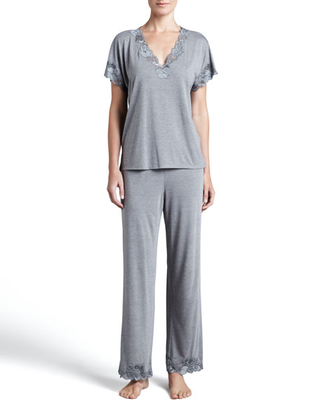 Natori Zen Floral-Trim Pajamas, Women's, Heather Gray