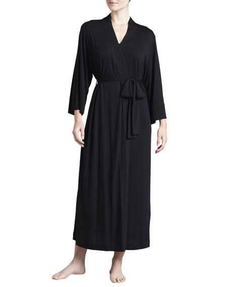 Natori Shangri-La Jersey Robe, Women's, Black