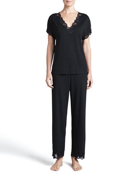 Zen Floral-Trim Pajamas, Women's, Black