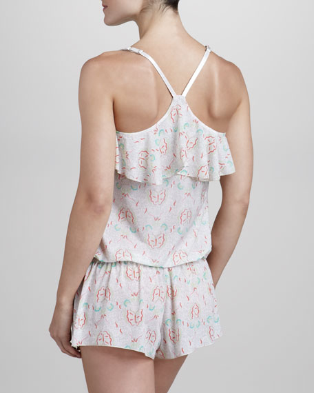 Butterfly-Print Ruffled Lounge Jumpsuit