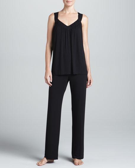 Jersey Ruched Pajamas, Black
