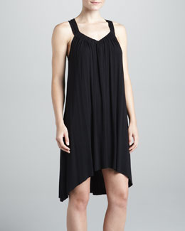 Donna Karan Jersey Short Gown, Black