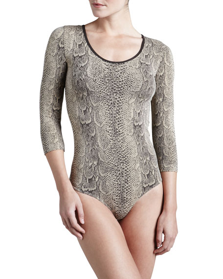 Rattlesnake G-String Bodysuit, Coffee