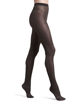 Wolford Cross Line Tights, Maroon