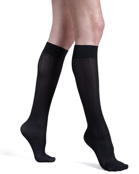 Cross Line Knee Highs, Black