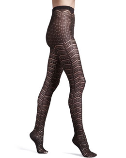 Wolford Saphira Open-Chevron Tights,  Maroon