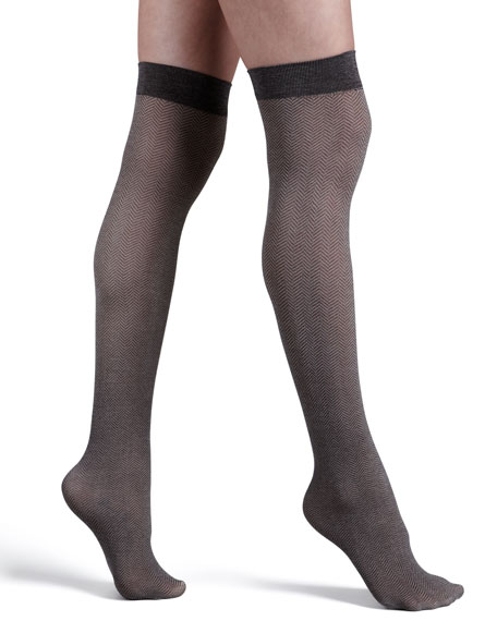 Gent Knee-Highs Stay-Up Stockings, Almodine/Maroon
