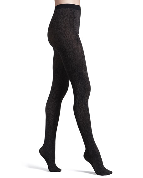 Rattlesnake-Print Opaque Tights, Maroon