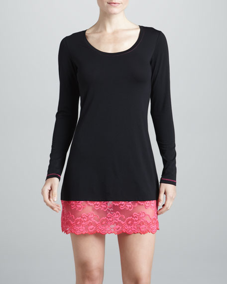 Essential Lace-Trim Sleep Shirt, Black/Red