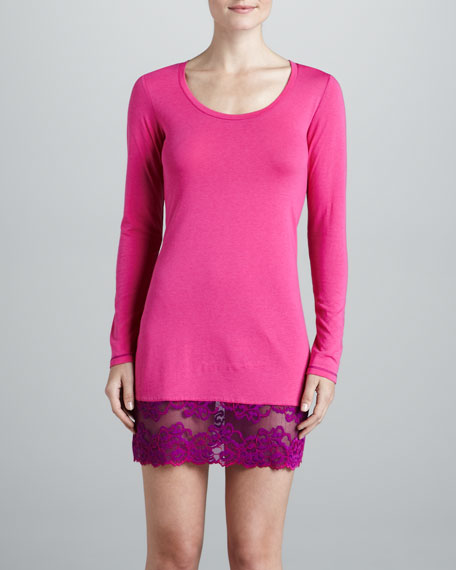 Essential Lace-Trim Sleep Shirt, Pink Lightning