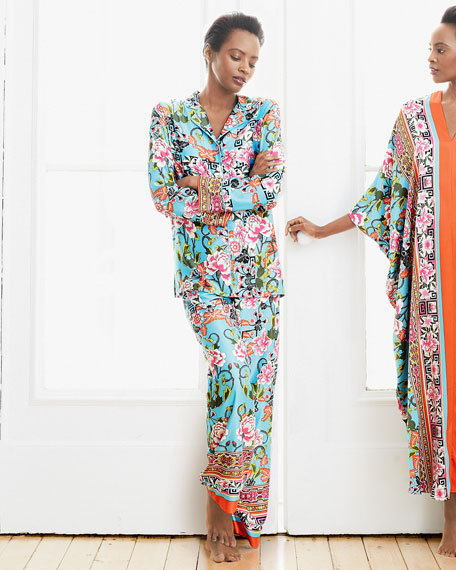 Porcelain Printed Two-Piece Pajama Set