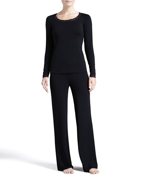 Natori Feathers Long-Sleeve Pajama Set, Black