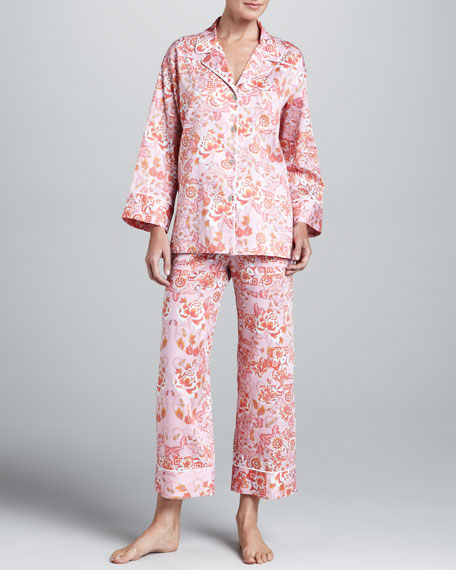 Ceramic Notch-Collar Pajama Set, Orchid Pink