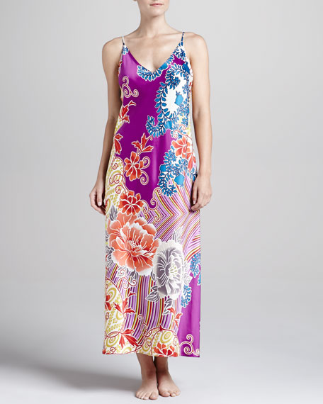 Chinois Long Satin Gown