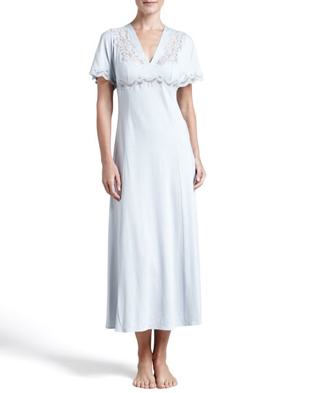 Noche Caliente Lace-Inset Flutter-Sleeve Gown