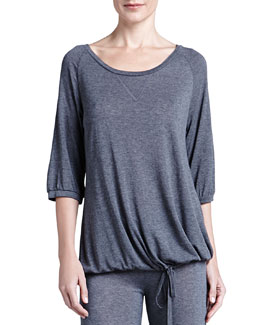 La Perla Studio 3/4-Sleeve Ballerina-Neck Top