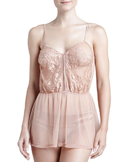 La Perla El Color Rojo Babydoll & Briefs Set, Nude