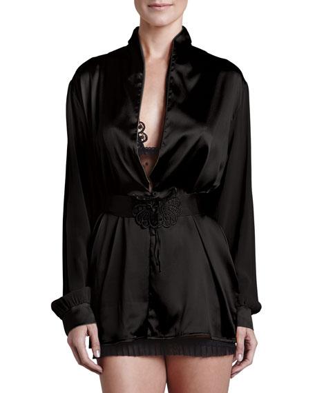 Noche De Viento Short Robe, Black