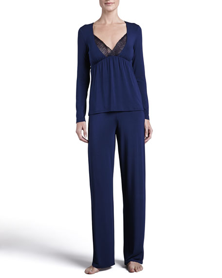 Studio Traviata Long-Sleeve PJ Set, Navy