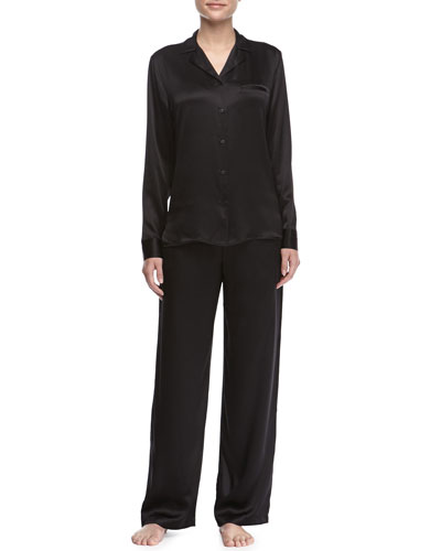 La Perla Studio Satin Notch-Collar Pajama Set