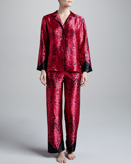 Damask-Illusion Satin Pajamas