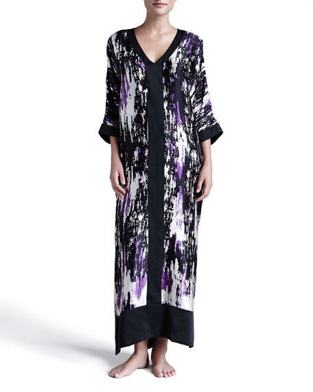 Glamour Abstract-Print Silk Caftan